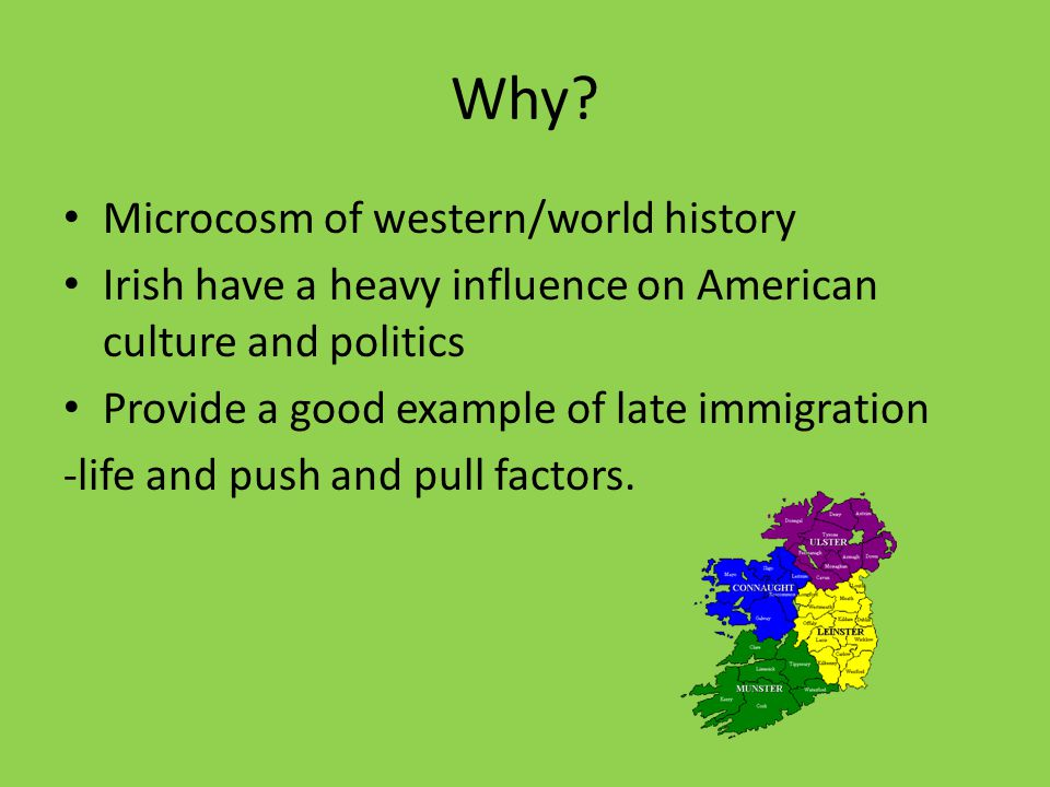 Why? Microcosm of western/world history Irish have a heavy influence on American culture and politics Provide a good example of late immigration -life