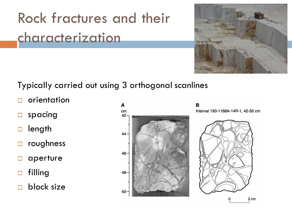 Rock fractures and their characterization Typically carried out using 3 orthogonal scanlines  orientation  spacing  length  roughness  aperture 