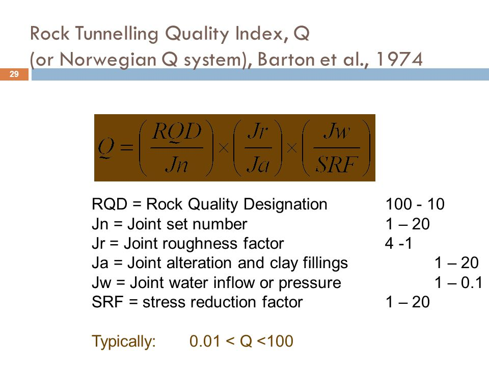 Rock Tunnelling Quality Index, Q (or Norwegian Q system), Barton et al., 1974 RQD = Rock Quality Designation100 - 10 Jn = Joint set number1 – 20 Jr =