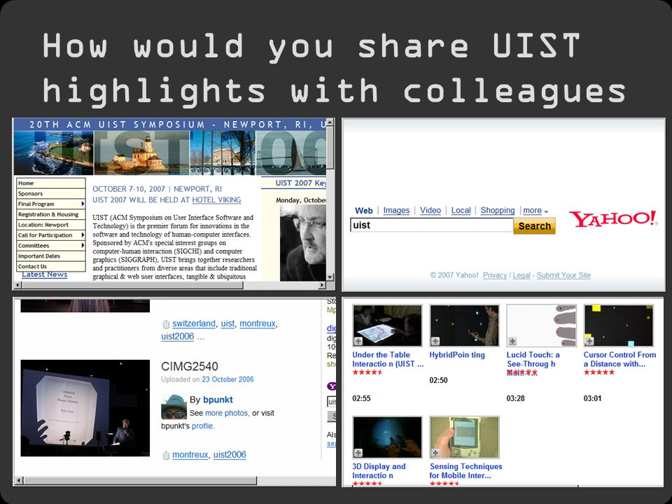 2 How would you share UIST highlights with colleagues back home?