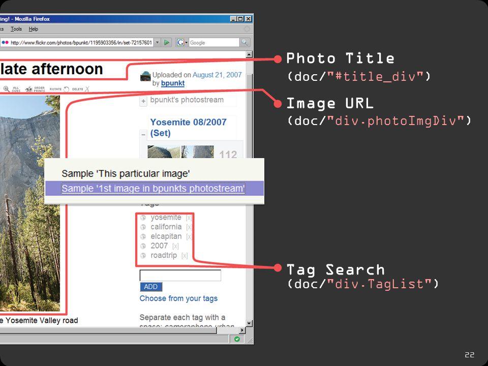 22 Photo Title Image URL Tag Search (doc/ #title_div ) (doc/ div.photoImgDiv ) (doc/ div.TagList )