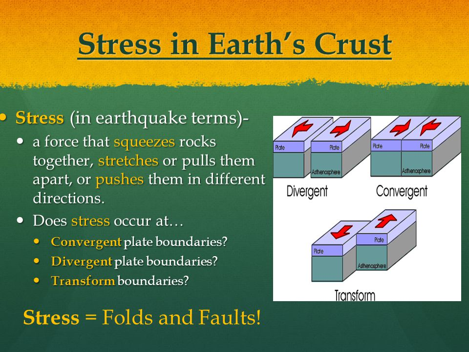 Stress in Earth's Crust Stress (in earthquake terms)- Stress (in earthquake terms)- a force that squeezes rocks together, stretches or pulls them apart, or pushes them in different directions.