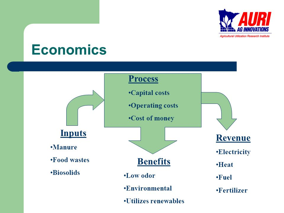 Economics Benefits Low odor Environmental Utilizes renewables Inputs Manure Food wastes Biosolids Revenue Electricity Heat Fuel Fertilizer Process Capital costs Operating costs Cost of money