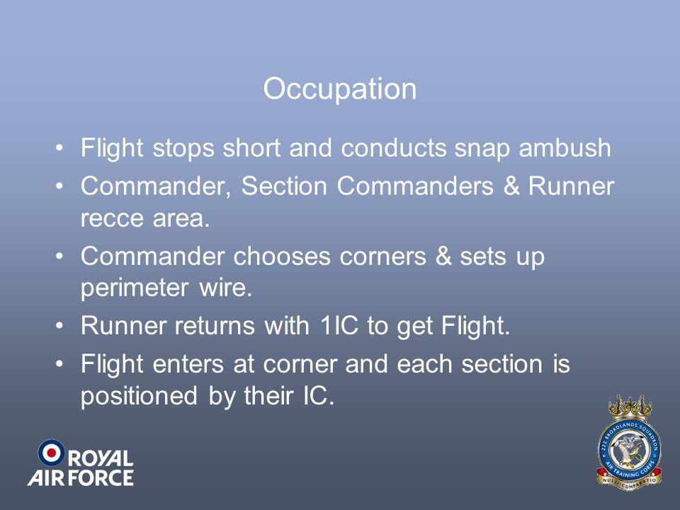 Occupation Flight stops short and conducts snap ambush Commander, Section Commanders & Runner recce area. Commander chooses corners & sets up perimete