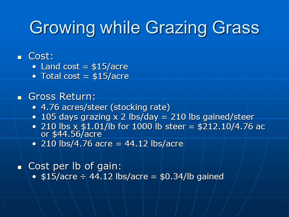 Growing while Grazing Grass Cost: Cost: Land cost = $15/acreLand cost = $15/acre Total cost = $15/acreTotal cost = $15/acre Gross Return: Gross Return: 4.76 acres/steer (stocking rate)4.76 acres/steer (stocking rate) 105 days grazing x 2 lbs/day = 210 lbs gained/steer105 days grazing x 2 lbs/day = 210 lbs gained/steer 210 lbs x $1.01/lb for 1000 lb steer = $212.10/4.76 ac or $44.56/acre210 lbs x $1.01/lb for 1000 lb steer = $212.10/4.76 ac or $44.56/acre 210 lbs/4.76 acre = 44.12 lbs/acre210 lbs/4.76 acre = 44.12 lbs/acre Cost per lb of gain: Cost per lb of gain: $15/acre ÷ 44.12 lbs/acre = $0.34/lb gained$15/acre ÷ 44.12 lbs/acre = $0.34/lb gained
