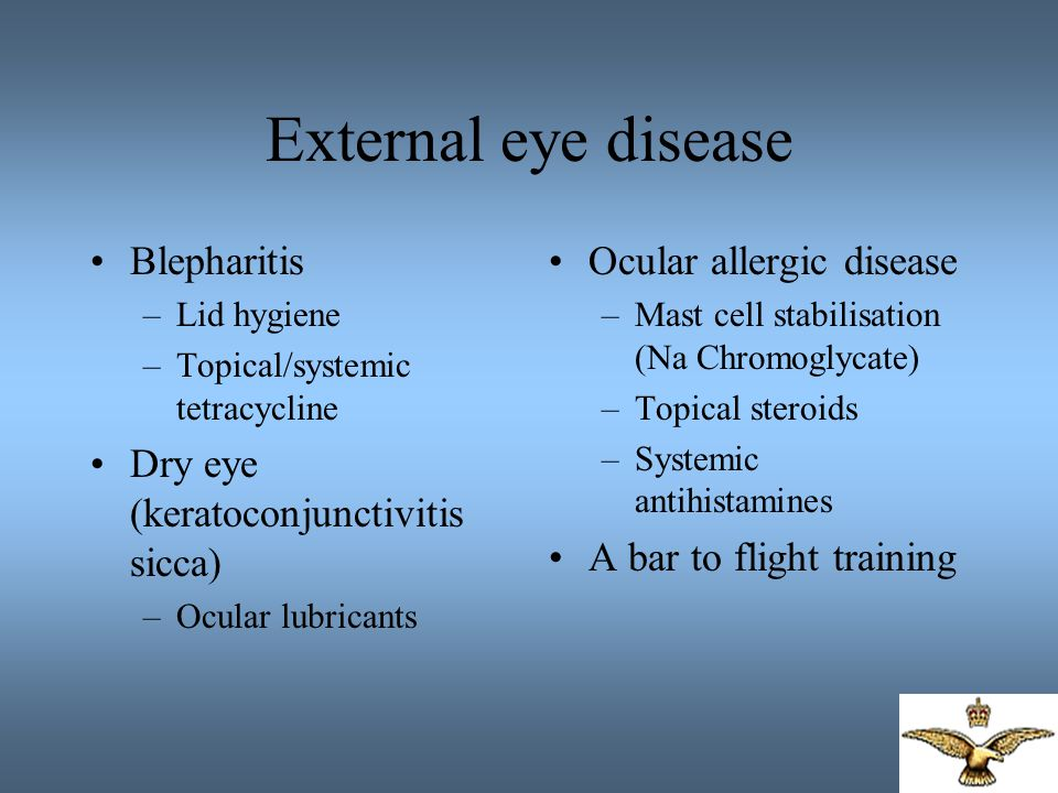 Uveitis Inflammation of eye –Idiopathic –Infectious –Systemic disease Anterior Intermediate Posterior Pan-uveitis Treatment –Topical / systemic Anterior uveitis –often controlled with topical steroids –Flying category usually preserved with limitations Systemic immunosuppression