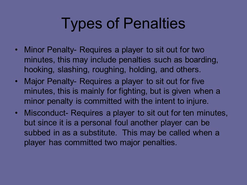 Types of Penalties Minor Penalty- Requires a player to sit out for two minutes, this may include penalties such as boarding, hooking, slashing, roughing, holding, and others.