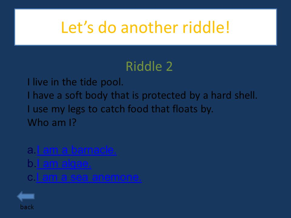 Let's do some riddles. back Riddle 1 I live in the tide pools.
