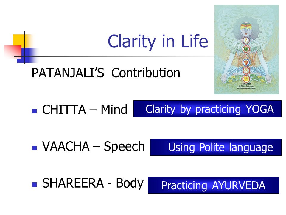 Clarity in Life PATANJALI'S Contribution CHITTA – Mind VAACHA – Speech SHAREERA - Body Clarity by practicing YOGA Using Polite language Practicing AYURVEDA