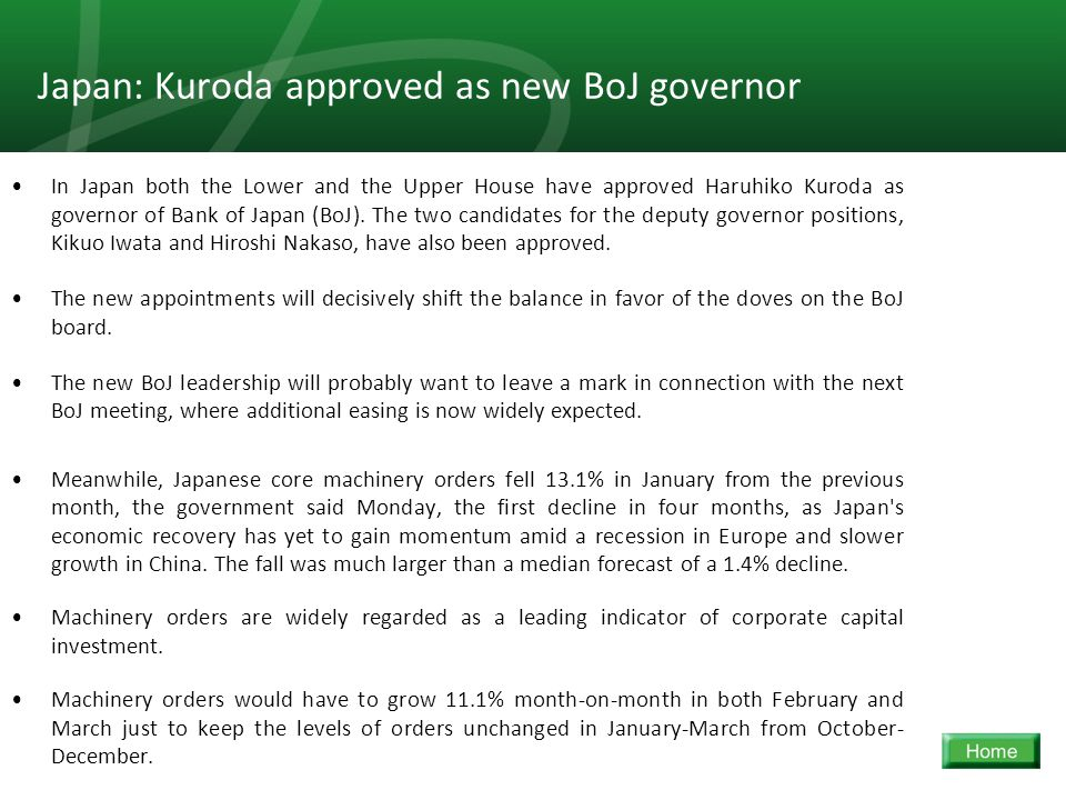 15 Japan: Kuroda approved as new BoJ governor In Japan both the Lower and the Upper House have approved Haruhiko Kuroda as governor of Bank of Japan (BoJ).