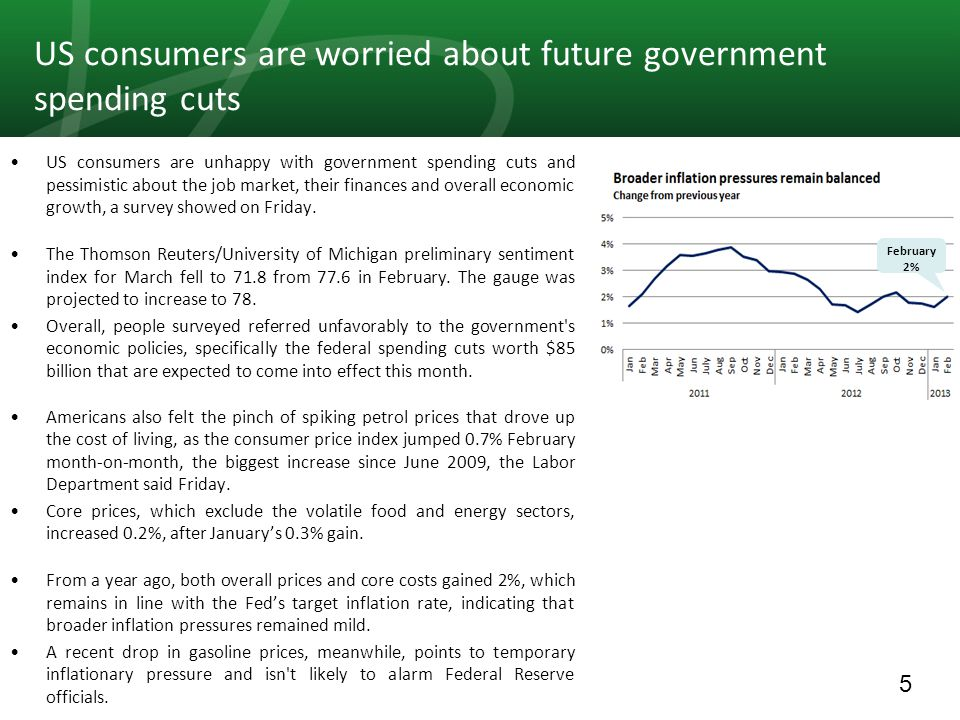 5 US consumers are worried about future government spending cuts US consumers are unhappy with government spending cuts and pessimistic about the job market, their finances and overall economic growth, a survey showed on Friday.
