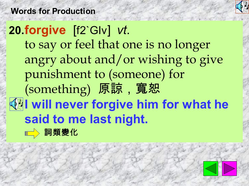 Words for Production 19. involuntarily [ In`vAl1n&tEr1lI ] adv. without conscious control 無心地,非 出於本意地,不由自主地 He was so angry that his body shook involu