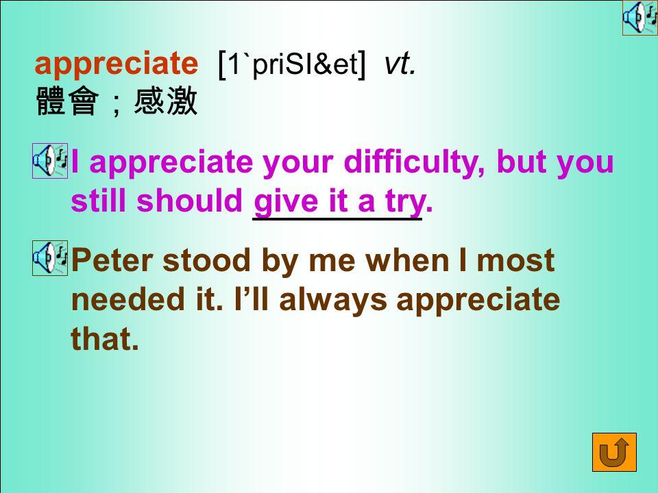 Words for Production 21. appreciation [ 1&priSI`eS1n ] n.