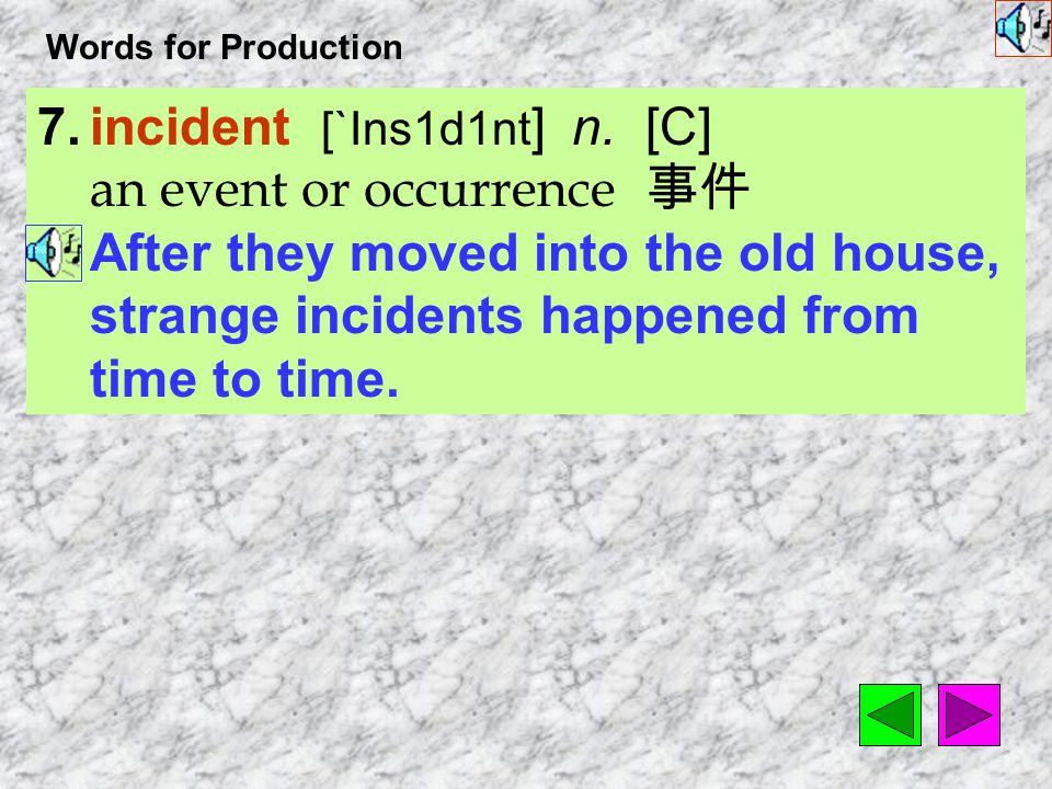 Words for Production 7.incident [`Ins1d1nt ] n.