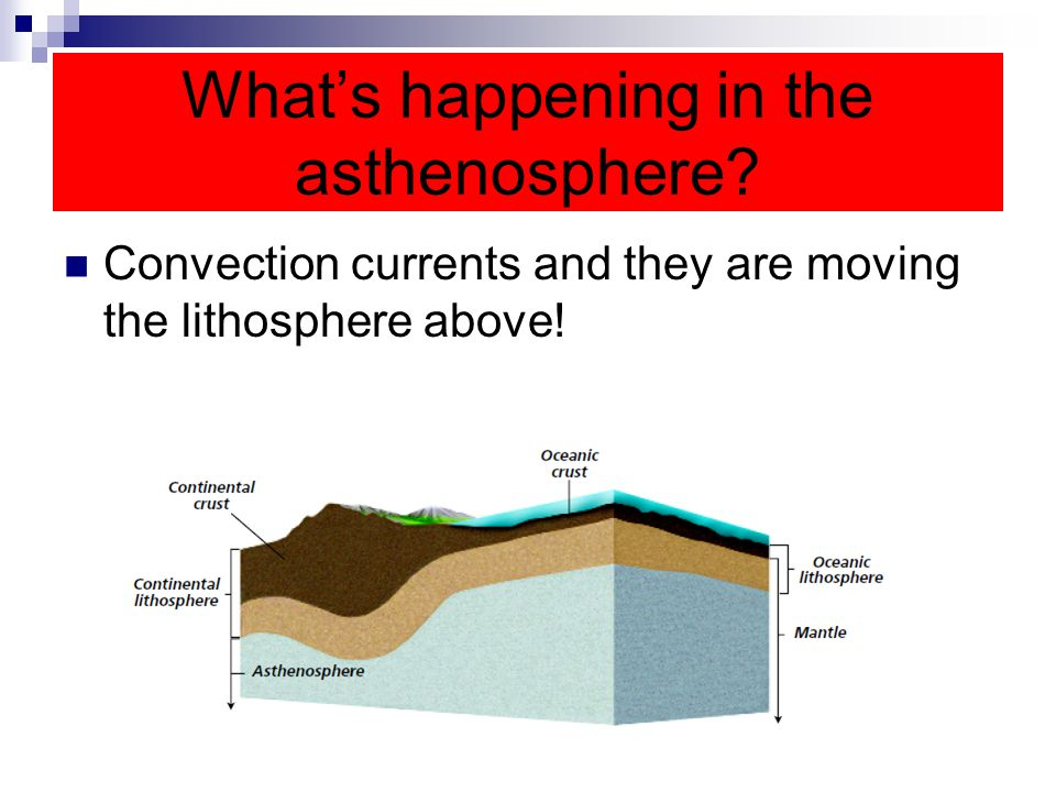 What's happening in the asthenosphere? Convection currents and they are moving the lithosphere above!