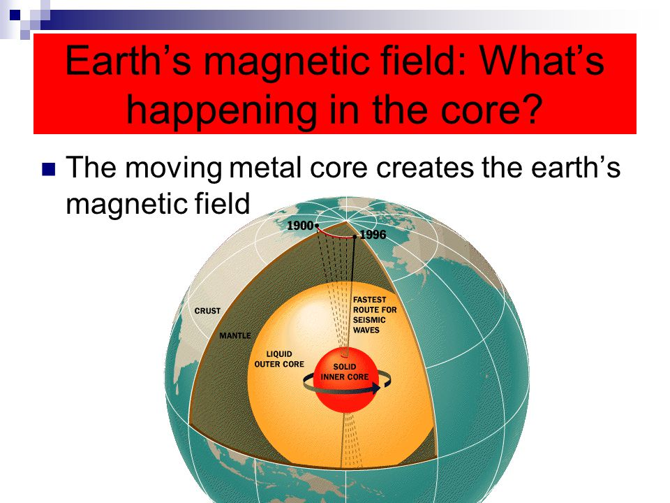 Earth's magnetic field: What's happening in the core? The moving metal core creates the earth's magnetic field