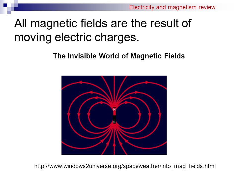 All magnetic fields are the result of moving electric charges. The Invisible World of Magnetic Fields http://www.windows2universe.org/spaceweather/inf