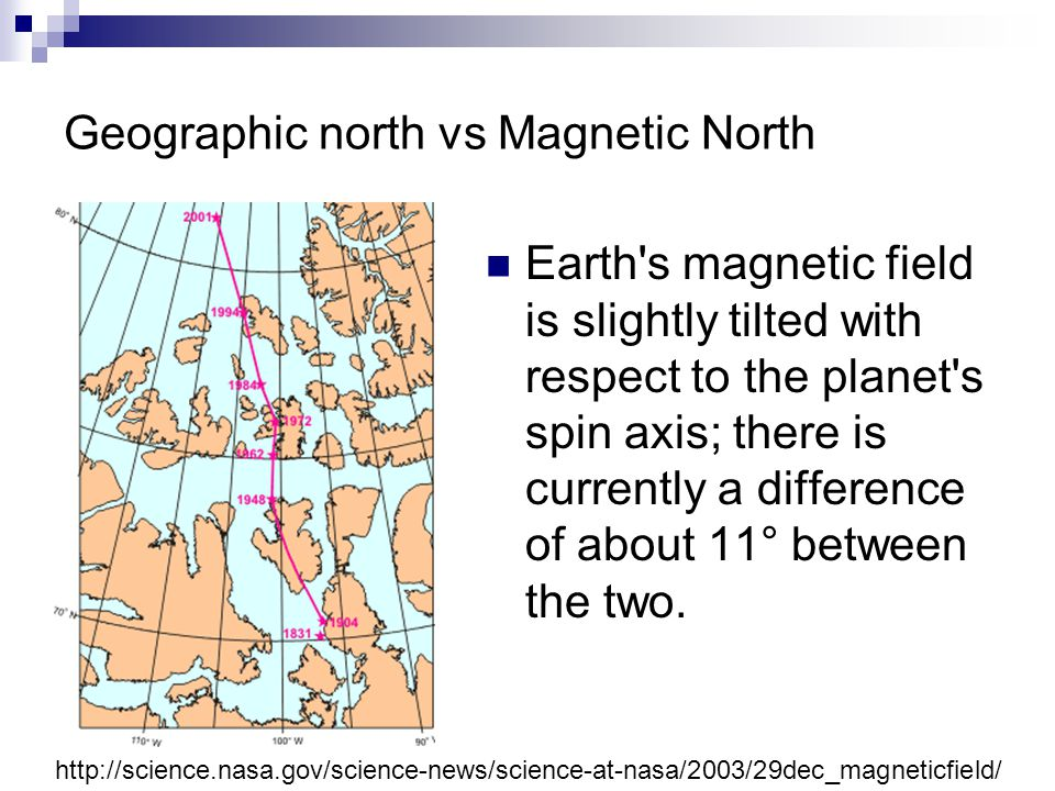 Geographic north vs Magnetic North Earth s magnetic field is slightly tilted with respect to the planet s spin axis; there is currently a difference of about 11° between the two.
