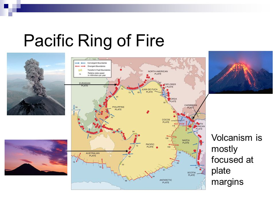 Volcanism is mostly focused at plate margins Pacific Ring of Fire