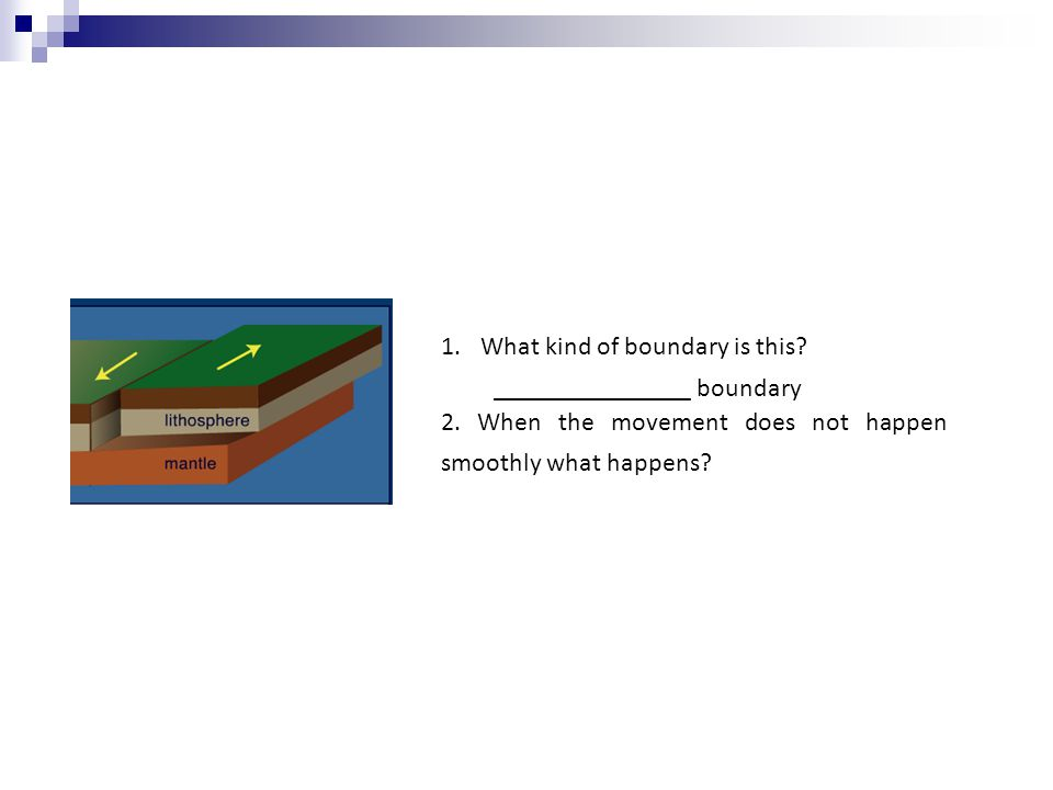 1.What kind of boundary is this? _______________ boundary 2. When the movement does not happen smoothly what happens?