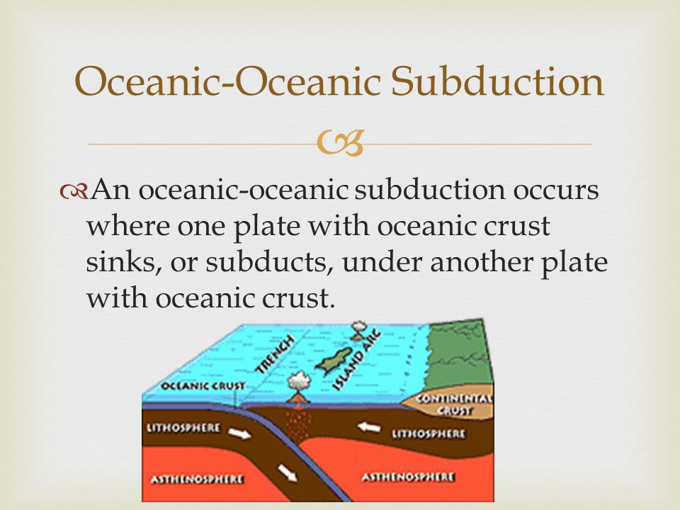   An oceanic-oceanic subduction occurs where one plate with oceanic crust sinks, or subducts, under another plate with oceanic crust. Oceanic-Oceani