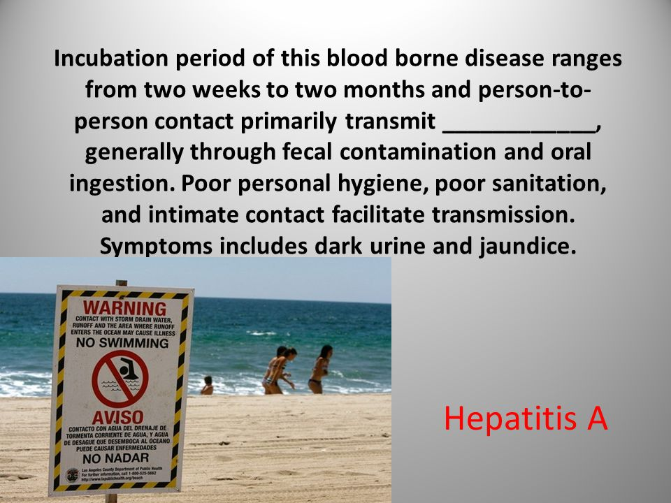 Incubation period of this blood borne disease ranges from two weeks to two months and person-to- person contact primarily transmit ____________, generally through fecal contamination and oral ingestion.