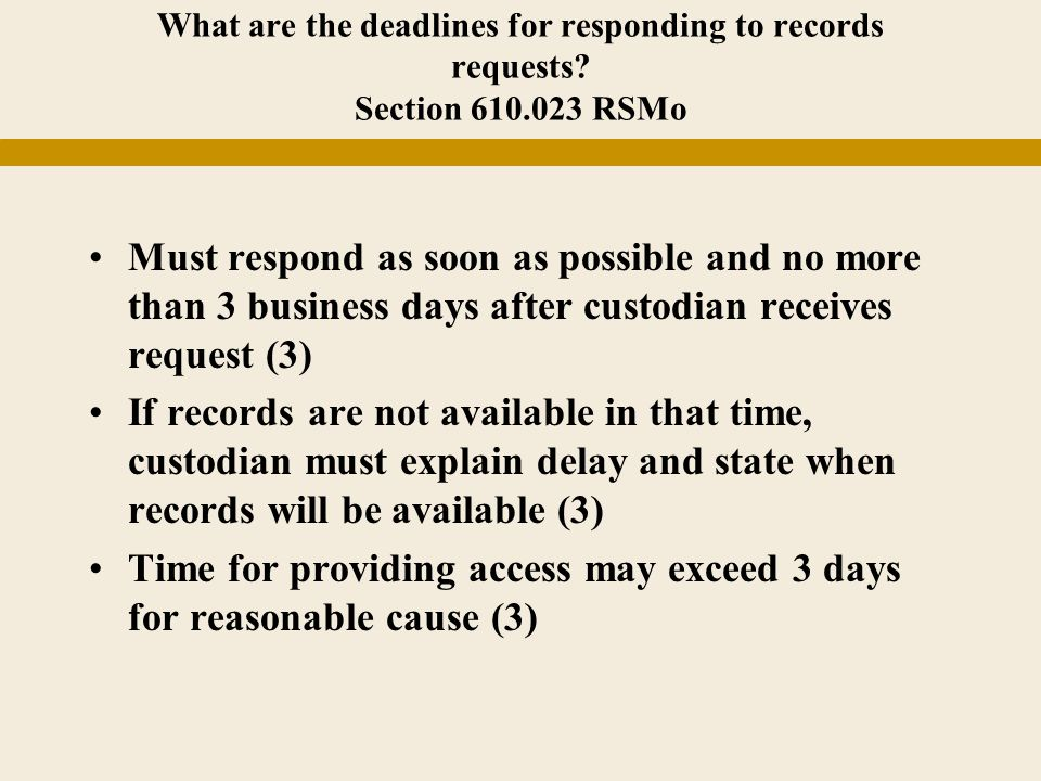 What are the deadlines for responding to records requests.