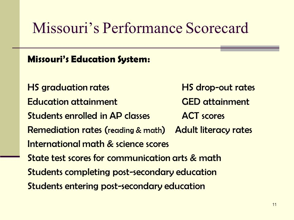 11 Missouri's Performance Scorecard Missouri's Education System: HS graduation rates HS drop-out rates Education attainment GED attainment Students enrolled in AP classes ACT scores Remediation rates ( reading & math ) Adult literacy rates International math & science scores State test scores for communication arts & math Students completing post-secondary education Students entering post-secondary education