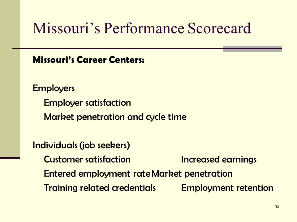 12 Missouri's Performance Scorecard Missouri's Career Centers: Employers Employer satisfaction Market penetration and cycle time Individuals (job seekers) Customer satisfactionIncreased earnings Entered employment rateMarket penetration Training related credentialsEmployment retention