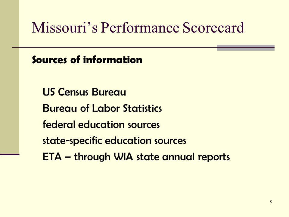 9 Missouri's Performance Scorecard Three major performance categories: 1.