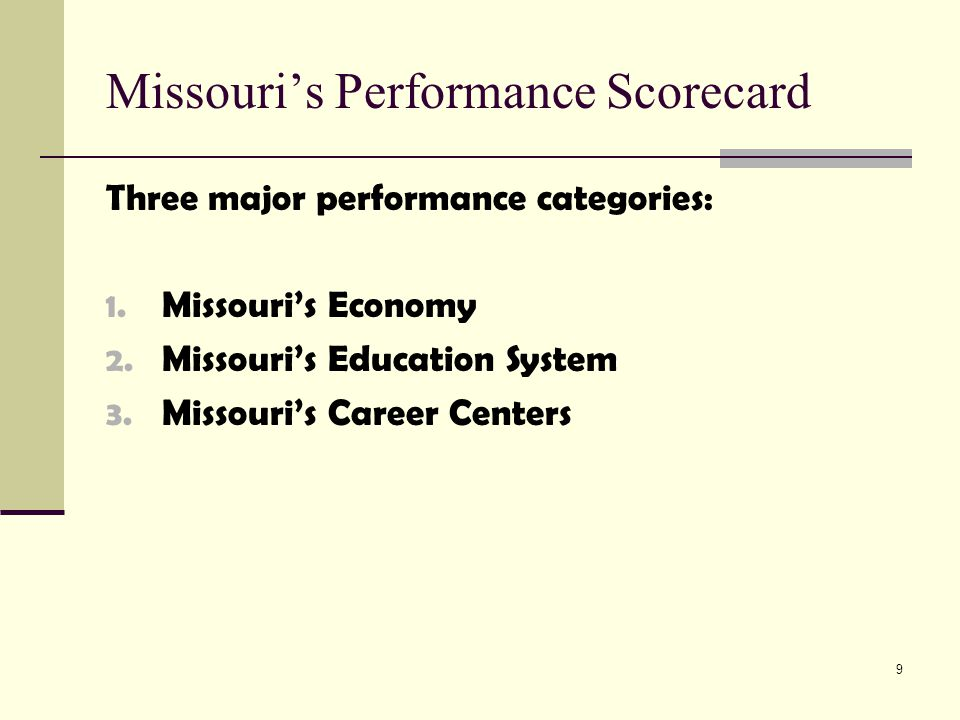 10 Missouri's Performance Scorecard Missouri's Economy: Poverty rate Industry diversity Median household income Wage gain Gross state product New job creation Permanent job loss New business established Unemployment rate Non-violent crime Value of goods & services exported Businesses declaring bankruptcy Total labor force participation