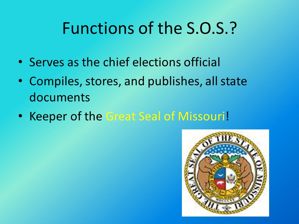 Functions of the S.O.S..