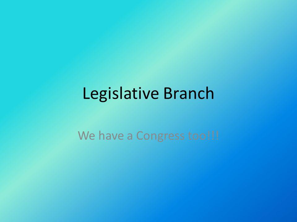 Legislative Branch We have a Congress too!!!