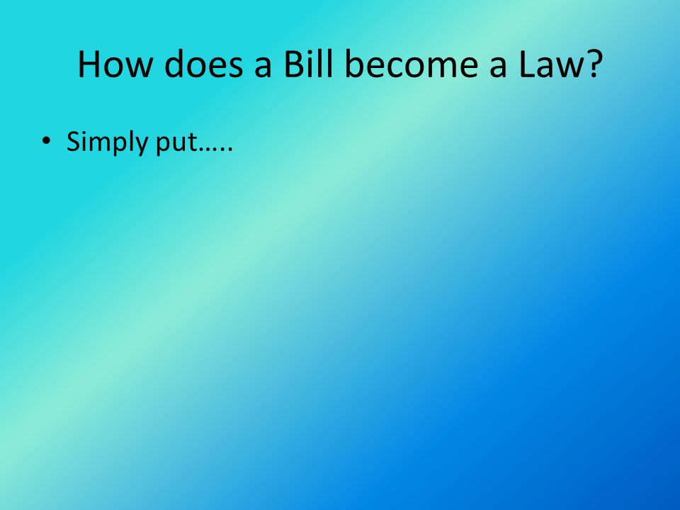 How does a Bill become a Law? Simply put…..