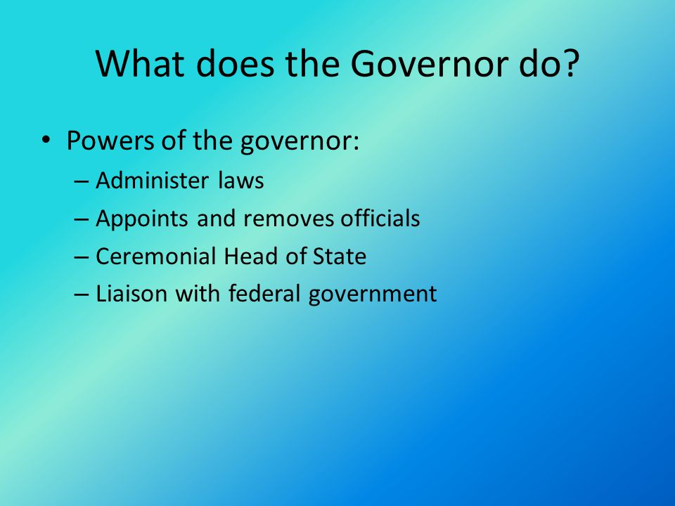 What does the Governor do.