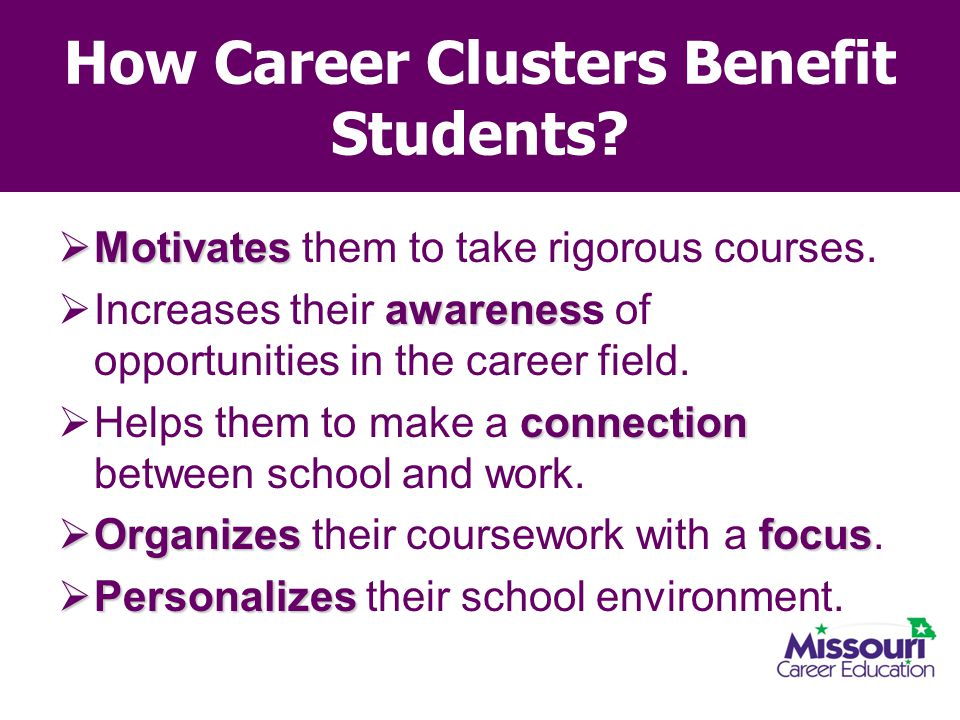How Career Clusters Benefit Students?  Motivates  Motivates them to take rigorous courses. awarenes  Increases their awareness of opportunities in