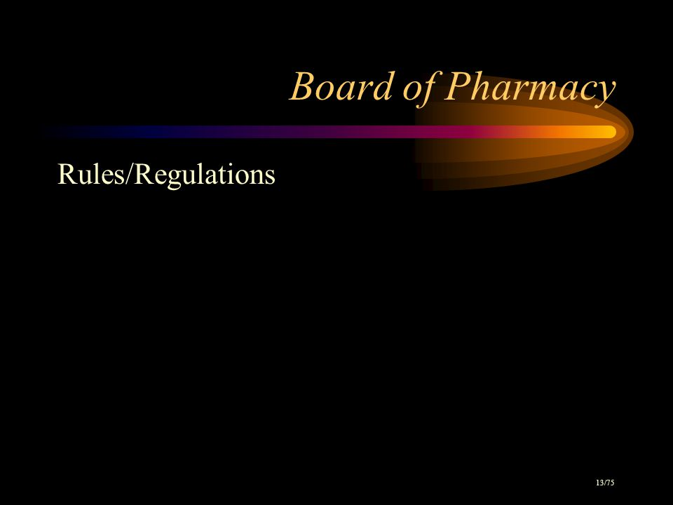 Board of Pharmacy Rules/Regulations 13/75
