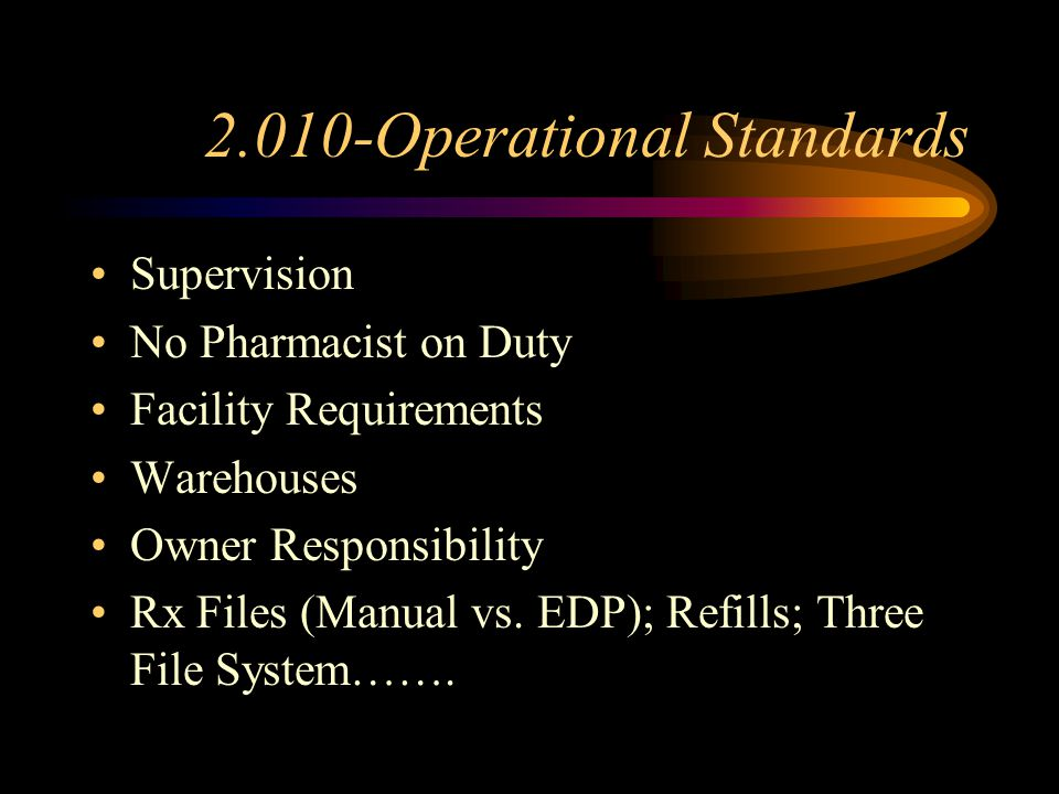 2.010-Operational Standards Supervision No Pharmacist on Duty Facility Requirements Warehouses Owner Responsibility Rx Files (Manual vs.