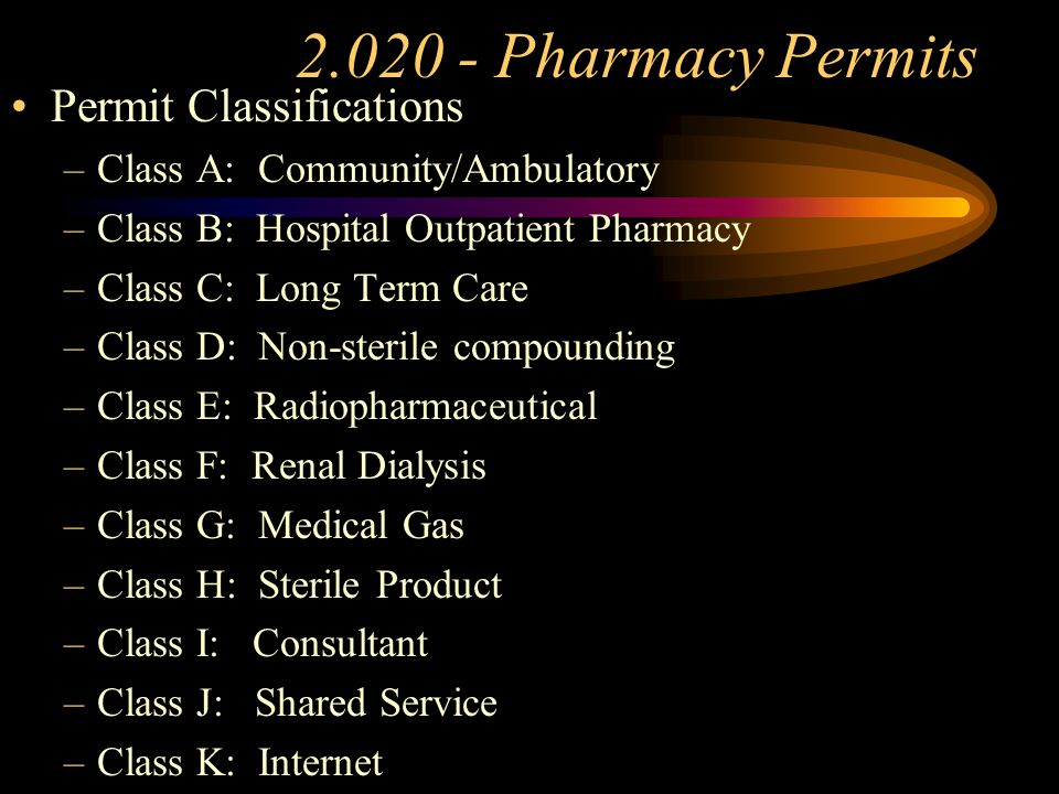 2.020-Pharmacy Permits Change of Ownership –Business is Sold* –Changes to or Within a Partnership* –Death of an Owner (One year Provision) –Corporate Ownership* –Stock Transfers* *30 Day Grace Period Change of Location(Application/Inspection) vs.