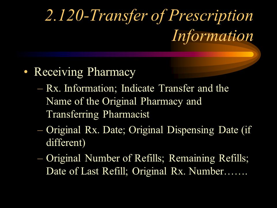 2.120-Transfer of Prescription Information Recordkeeping (Transferring Pharmacy) –Indicate transfer; Indicate Pharmacy –Date of Transfer; Transferring Pharmacist –Voiding of Rx.