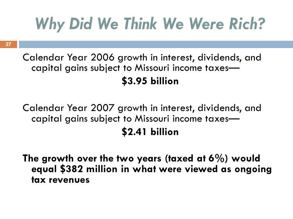 Why Did We Think We Were Rich.