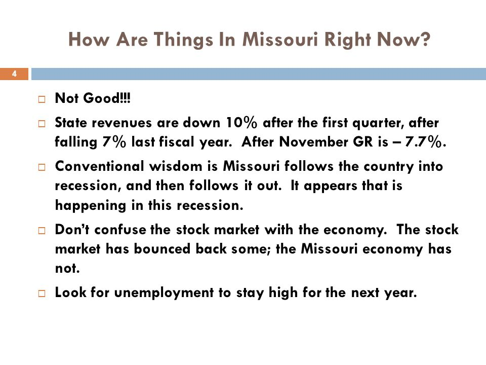 How Are Things In Missouri Right Now.  Not Good!!.