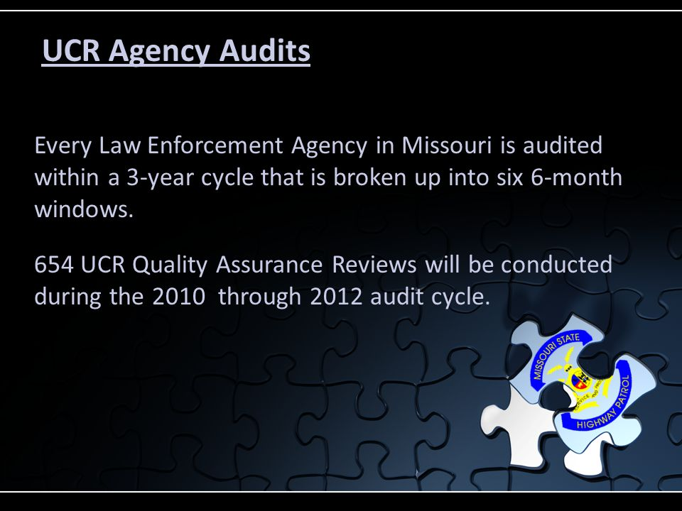 UCR Agency Audits 654 UCR Quality Assurance Reviews will be conducted during the 2010 through 2012 audit cycle.