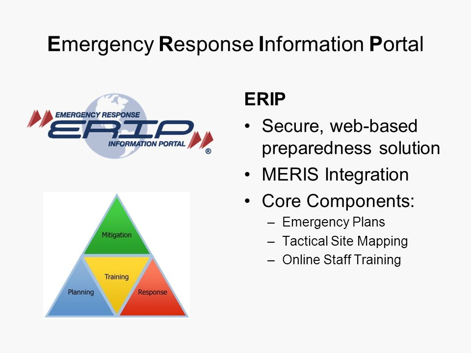 Emergency Response Information Portal ERIP Secure, web-based preparedness solution MERIS Integration Core Components: –Emergency Plans –Tactical Site Mapping –Online Staff Training