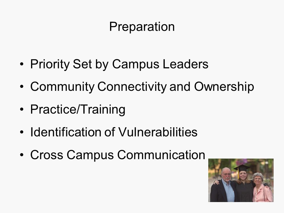 Preparation Priority Set by Campus Leaders Community Connectivity and Ownership Practice/Training Identification of Vulnerabilities Cross Campus Communication