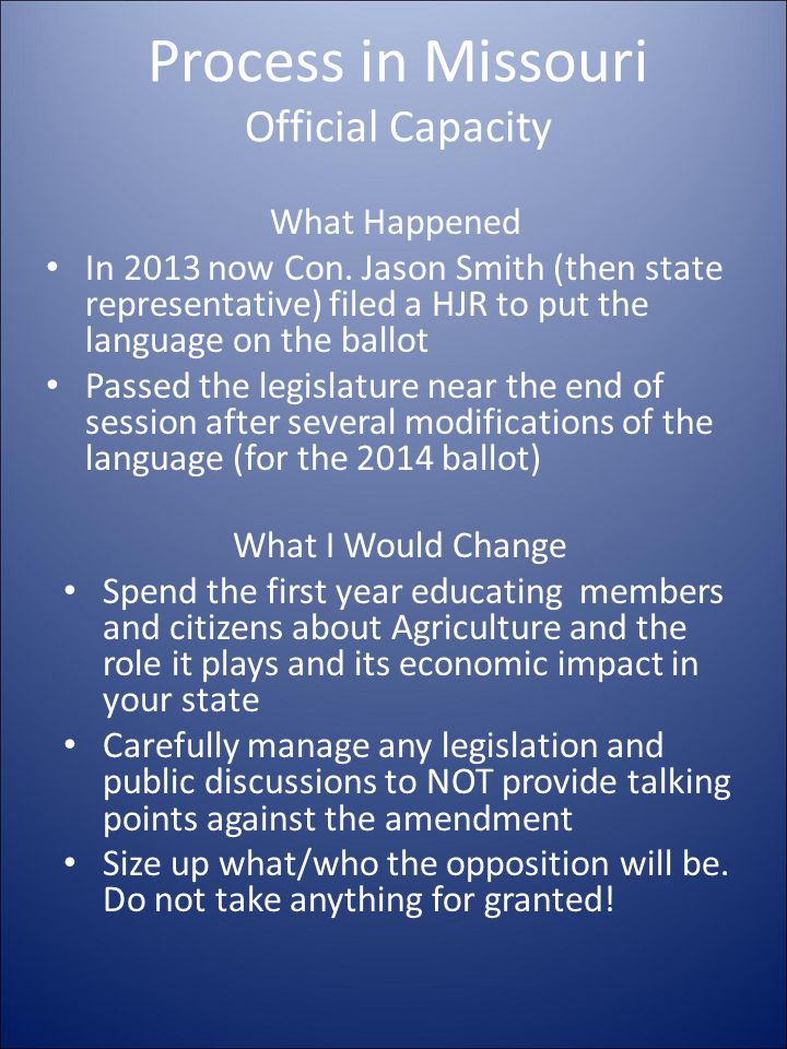 Process in Missouri Official Capacity What Happened In 2013 now Con.