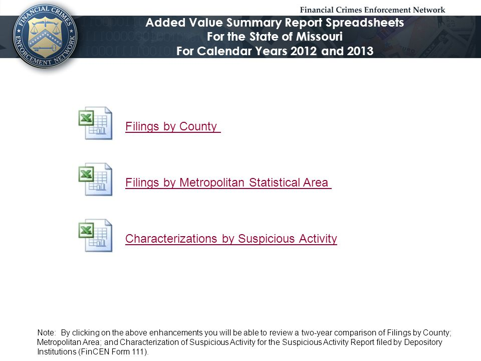 Filings by County Filings by Metropolitan Statistical Area Characterizations by Suspicious Activity Added Value Summary Report Spreadsheets For the St