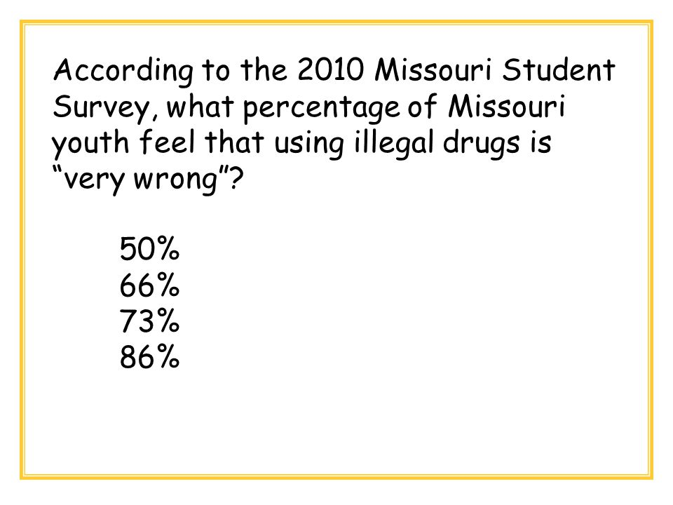 """According to the 2010 Missouri Student Survey, what percentage of Missouri youth feel that using illegal drugs is """"very wrong""""? 50% 66% 73% 86%"""