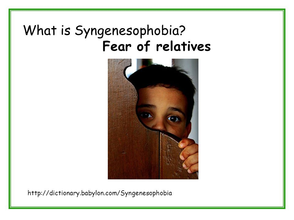 What is Syngenesophobia? Fear of relatives http://dictionary.babylon.com/Syngenesophobia