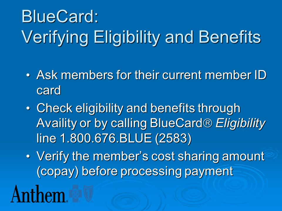 Examine Insurance ID Card Logos BlueCross BlueShield of Anywhere An Independent licensee of the Blue Cross and Blue Shield Association DOE, JOHN Ident